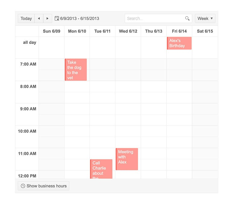 Kendo UI for jQuery Scheduler with search enabled