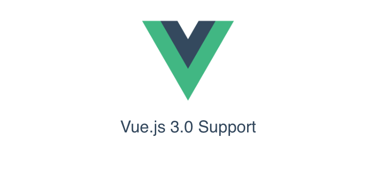 The Vue logo with Vue 3.0 support in text below the logo