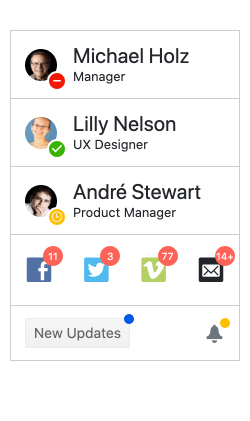 The KendoReact Badge Component in various scenarios, including the status indicator next to a profile avatar and notification elements for social media icons