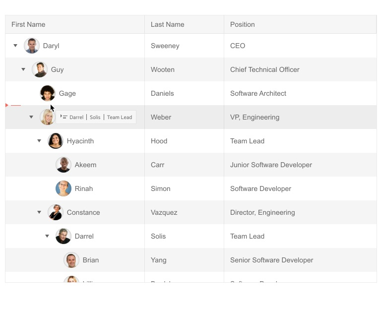 Kendo UI for jQuery TreeList with a user dragging and dropping a row to reorder the TreeList