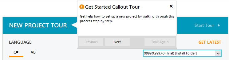 Callout: A window called New Project Tour shows the cursor hovering by this title and the callout/tooltip open. The callout has an 'information' icon (an orange circle with an i) and heading 'Get Started Callout Tour' with additional text, 'Get help how to set up a project new by walking through this process step by step.'