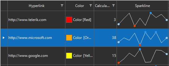 Dark Office2019 shows a grid with hyperlink, color, calculator and sparkline graph. The background is black (or near black), the text is white, the borders are light gray, a row highlight is a royal blue, and the color highlights are red, orange and yellow.