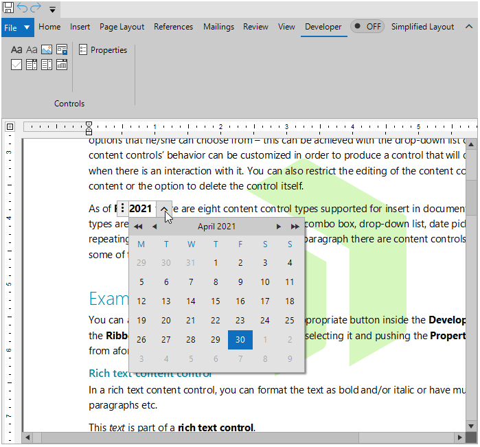 A text editor shows we're open to the Developer > Controls ribbon, which has several icon options and properties. In the editor window, a piece of text is highlighted—2021—and a calendar has popped up to allow date selection.