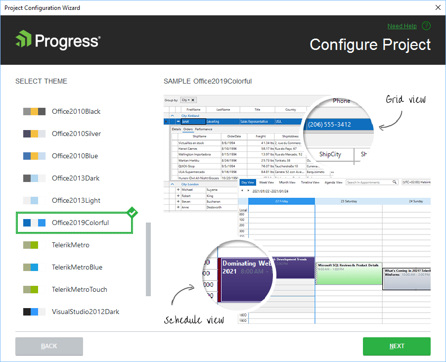Configuration Wizard. In a Progress Configure Project window, a list of themes to select from offers a preview of currently selected Office2019Colorful