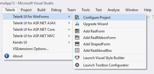 Telerik > Telerik UI for WinForms > Configure Project