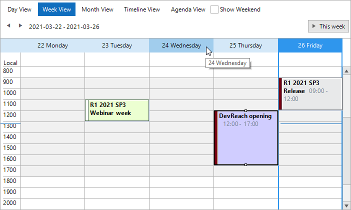 RadScheduler show a calendar in which the workday hours have a very light warm gray background while off hours are white. The borders are a medium gray. Today is highlighted with a bright blue border. The date row is otherwise light blue, and the hover is a darker shade of light blue. One event has a pale yellow background. Two other events have a dark red left edge; one of those has a lavender backdrop.
