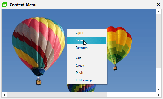 Over a photo of hot air balloons, a menu is open showing options to Open, Save, Remove, Cut, Copy, Paste, Edit image.
